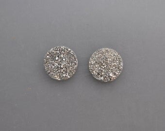 Silver Drusy Cabochon Pair