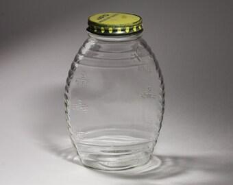 Vintage JFG Honey Jar, One Quart Jar, Hazel Atlas Jar - circa 1940's