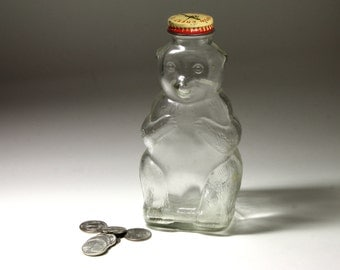 Vintage Glass Bear Bank by Snow Crest  - circa 1950's