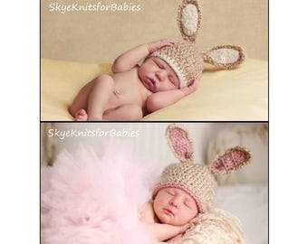 Baby Bunny Hat, Crochet Newborn Bunny Hat, Baby Easter Hat, Newborn Easter Hat, Crochet Baby Hat, Newborn Photography Prop, Baby Photo Prop