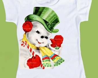 Christmas Snowman, Boys clothes, Girls Clothes, HolidayT- shirt, One Piece,Xmas shirt, holiday graphic tees, by ChiTownBoutique.etsy