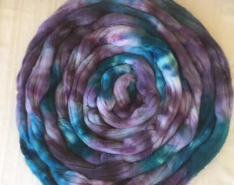Tie Dye Merino Roving Wool Hand Dyed Hand Painted Knitting Spinning Felting Baby Photo Prop