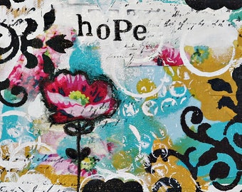 Colorful Abstract Art Print, Mixed Media Collage, Flower Painting, LDS Art, Bohemian,  Nursery, home decor, HOPE by Judie Parsons