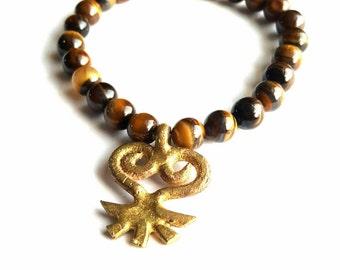 Mens tiger eye stretch bracelet// stretch beaded bracelet// copper// yoga bracelet//Sankofa bracelet