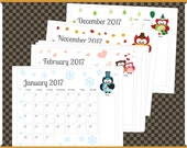 Printable Monthly Calendar - Jan to Dec 2017 with Seasonal Owl Theme - Horizontal - 8 x 10 inches