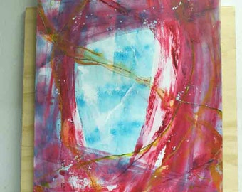 NEW: Abstract painting in layers - original - on paper - pink red blue depth