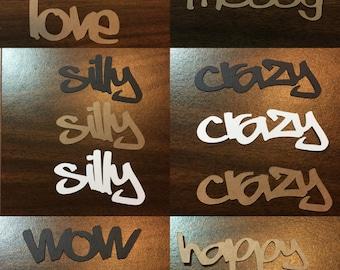 Set of 3 Die Cut Words - Pick your word