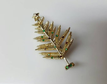 Gold BJ signed Christmas  tree Brooch
