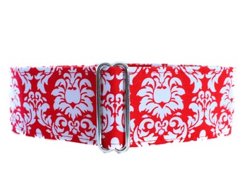 2 Inch Martingale Collar, Red and White Martingale Collar, Greyhound Collar, Red and White Dog Collar, Saluki Collar