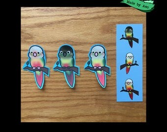 Conure Bundle - 3 Stickers, 3 Prints and a Bookmark!