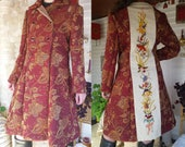 Elegant Long Coat - Brocade and Birds - Upcycled Vintage - Hand Embroidered - Wool Embroidery - Crewel Embroidery - Wearable Art