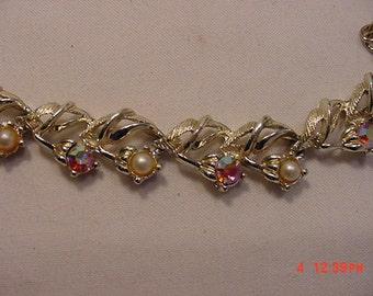 Vintage Rhinestone & Faux Pearl Adjustable Necklace   16 - 738