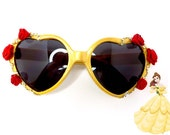 Yellow Disney Princess Belle Inspired Heart Shaped Sunglasses With Red Roses and Yellow Iridescent Rhinestones