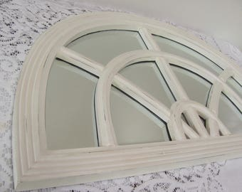 Framed Wall Mirror, Antique White Arched Top Mirror