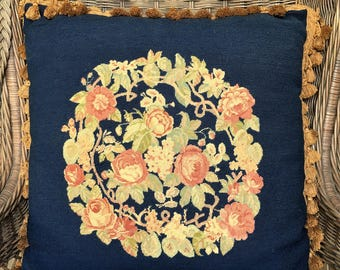 Vintage Navy Blue Petit Point Pillow handmade late 1800's-1920's