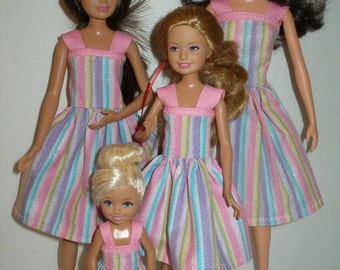 "Handmade 11.5"" fashion doll clothes - 4 sisters pink stripe dress set"