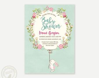 Bunny Baby Shower Invitation | Bunny Baby Shower Invitation | Spring Baby Shower |  Digital  |  Pastel Bunny Printable DIY | Mint 0704mint