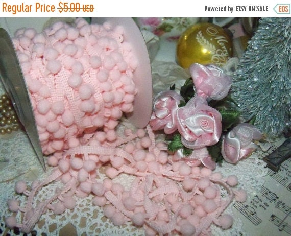 ON SALE Pom Pom Trim-Precious Pink-Altered Art-Mixed Media-Supplies-3 yards