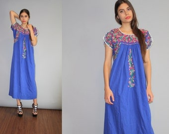 Vintage 1960s Oaxacan Blue long Rainbow Floral Embroidered  Boho Hippie Folk Ethnic Long Mexican Wedding Maxi Dress  - W00151