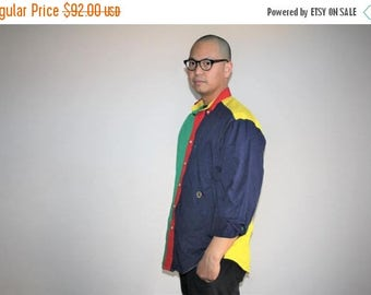 40% Limited time SALE  - Vintage 90s Tommy Colorblock Button Up Hip Hop Rap Dress Shirt - 1990s Tommy Shirt - 90s Clothing - MV0011