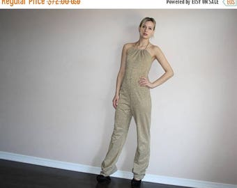 On SALE 40% Off - Vintage 1990s Gold Metallic Disco Jumpsuit Halter Romper - Vintage  1990s Jumpsuits - 90s Clothing - WV0267