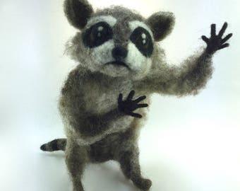 Needle Felted Raccoon, Raccoon Art, Raccoon, Raccoon Art, Needle Felted Animal, Fantasy Art, Raccoon Gift, Raccoon Decor, Felted Animal