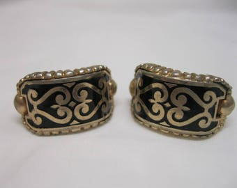 Vintage Barclay Damascene Earrings Clip On Black Gold Tone Jewelry