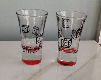 Yahtzee Shot Glass Hand Painted Black Dice Red Base
