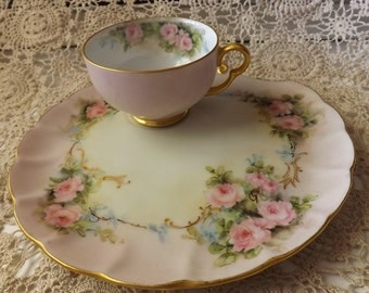 Hand Painted Porcelain Snack Plate With Matching Tea Cup  With Hand Painted Roses Design