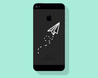 New! - PAPER PLANE VINYL Decal, Airplane Decal, Illustrated Decal, Cell Phone Decal, Vinyl Sticker