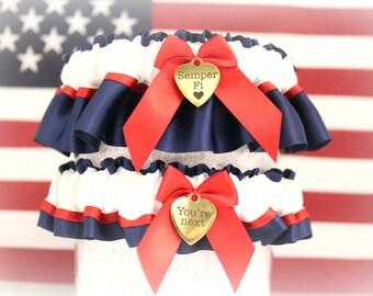 USMC Wedding Garter Set - Military Dress Blue Garters - Military Garters - Marine Wedding Garters - Patriotic Garter set - Something Blue.