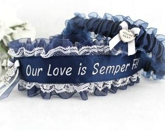 US Marine Wedding Garters - Marine Corps Garter set - Something Blue - Our Love Is Semper Fi - Personalized Garter set - You're Next.