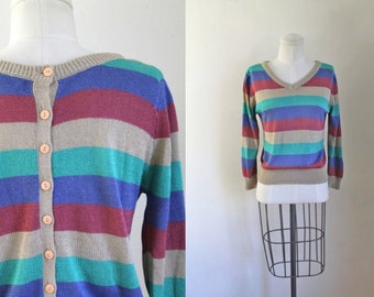 vintage striped sweater - FRONT & BACK button back  pullover / S