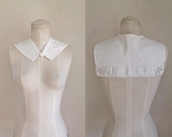 edwardian 1910s white collar - SAILOR cutwork detachable collar
