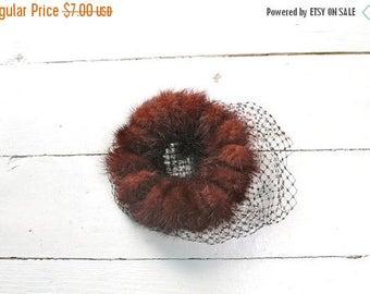 40% OFF anniversary sale 75 Percent OFF... last call // vintage 1950s fur hat -CHESTNUT Shell mink fur fascinator hat