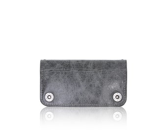 iPhone 6+, iPhone 7+ RETROMODERN aged leather wallet - - GRAY