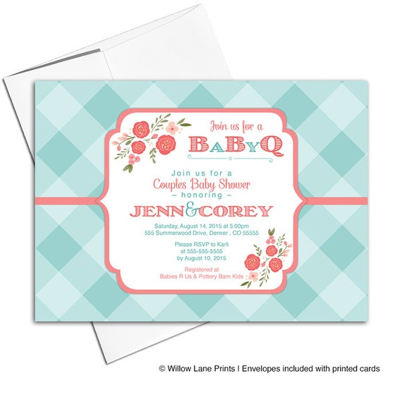 couples baby shower invitation baby q shower invitation coral and