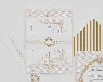 Vintage French Baroque Wedding Invitation Digital Download,French Baroque Wedding Printable Invitation,Fleur De Lis Wedding Invite Template