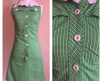 Vintage 1960's Green and White Candy Striped Collared Sleeveless Mod Scooter Dress Size Extra Small XS