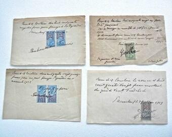 Vintage French Receipts Ephemera with tax stamps paper ink handwritten 1919 1923 Photo Prop Collage work