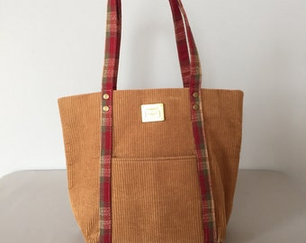 cafe au laut corduroy bag | small top handle tote