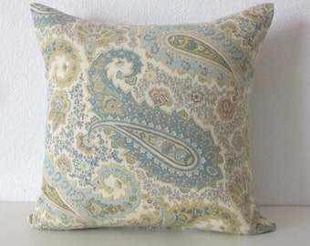 Blue Green Paisley Pillow Cover