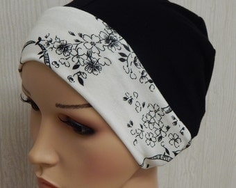 Cotton jersey skull cap, cancer bonnet, black and cream white chemo hat, surgical caps, hair loss beanie, sleeping hats, stretchy head wear