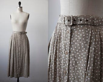 Vtg Tan and White Polka Dot High Waist Midi Skirt with Matching Belt M-L