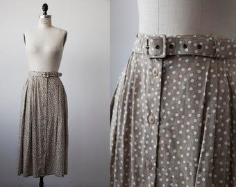 Vtg Tan and White Polka Dot High Waist Midi Skirt with Matching Belt M-L