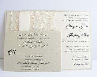 Romance and Lace Wedding Invitations, Luxury Wedding Invitations Lace Invitations JANET - LATTE