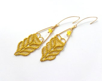 Yellow dangle earrings, mustard earrings, lace earrings, yellow mustard earrings