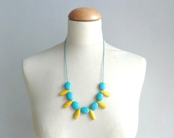 Turquoise yellow necklace, fan gemstone necklace