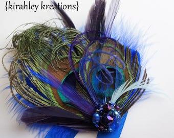 Peacock Feather Prom Bridesmaid ADRIENNE Wristlet Corsage Cuff Bracelet Royal Blue Purple Feather Rhinestone Satin Ribbons CUSTOM COLORS