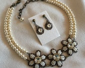 Pearl and Brass Flower Collar